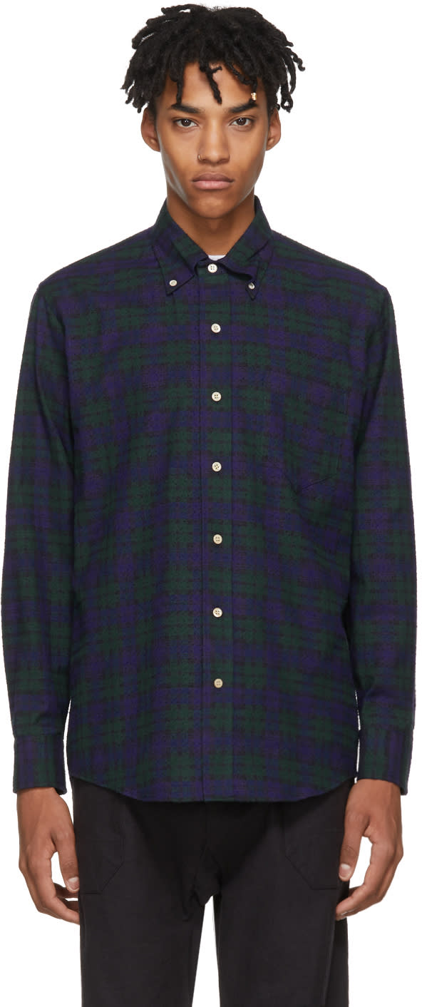 Image of Aime Leon Dore Navy and Green Nubby Flannel Shirt