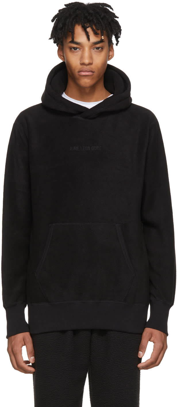 Image of Aime Leon Dore Black Polar Fleece Kanga Hoodie