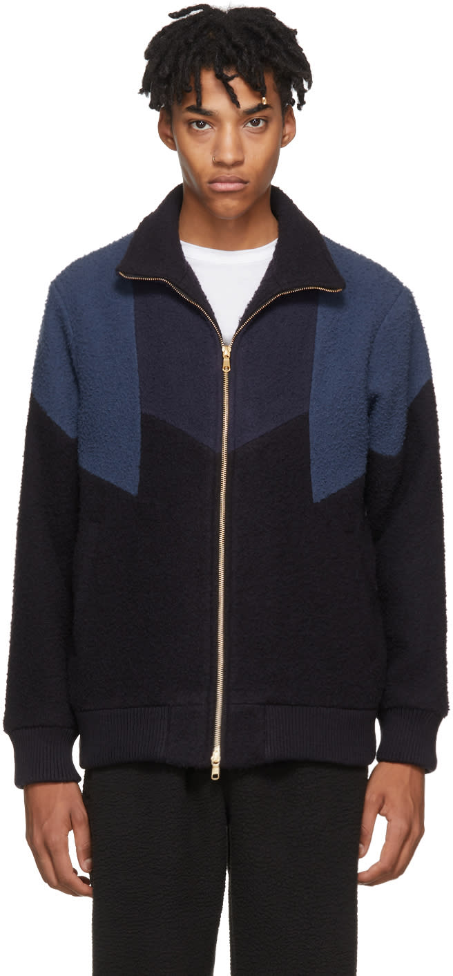 Image of Aime Leon Dore Blue Nubby Wool Panel Track Jacket