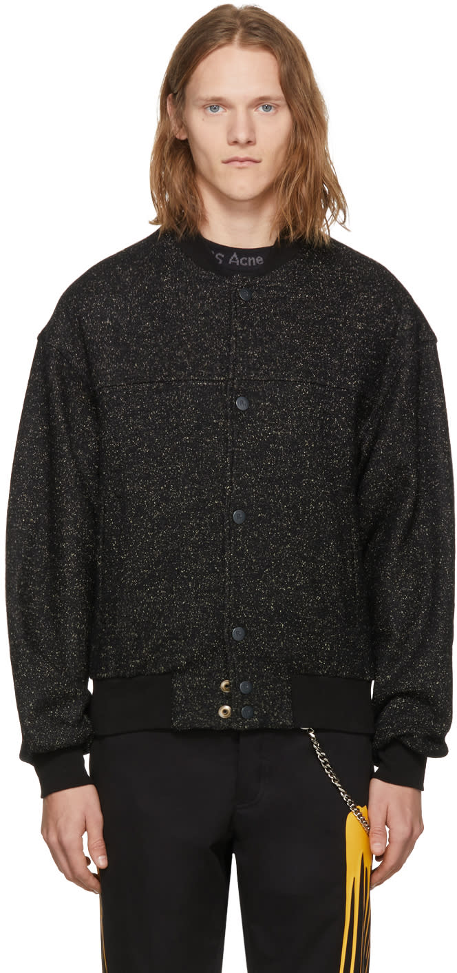 Image of Rochambeau Black Speckled Bomber Jacket