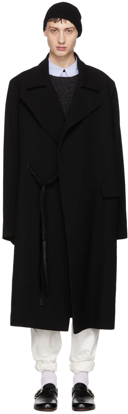 Image of Hed Mayner Black Wool Tailored Coat