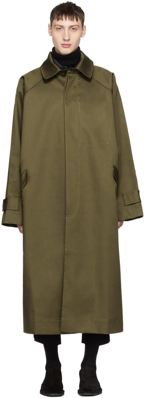 Image of Hed Mayner Khaki Long Coat