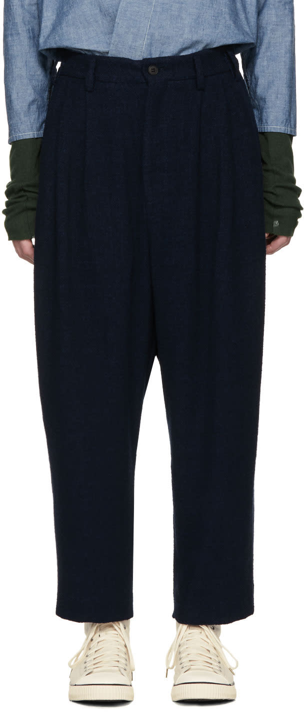 Image of Hed Mayner Navy Round High-waist Trousers
