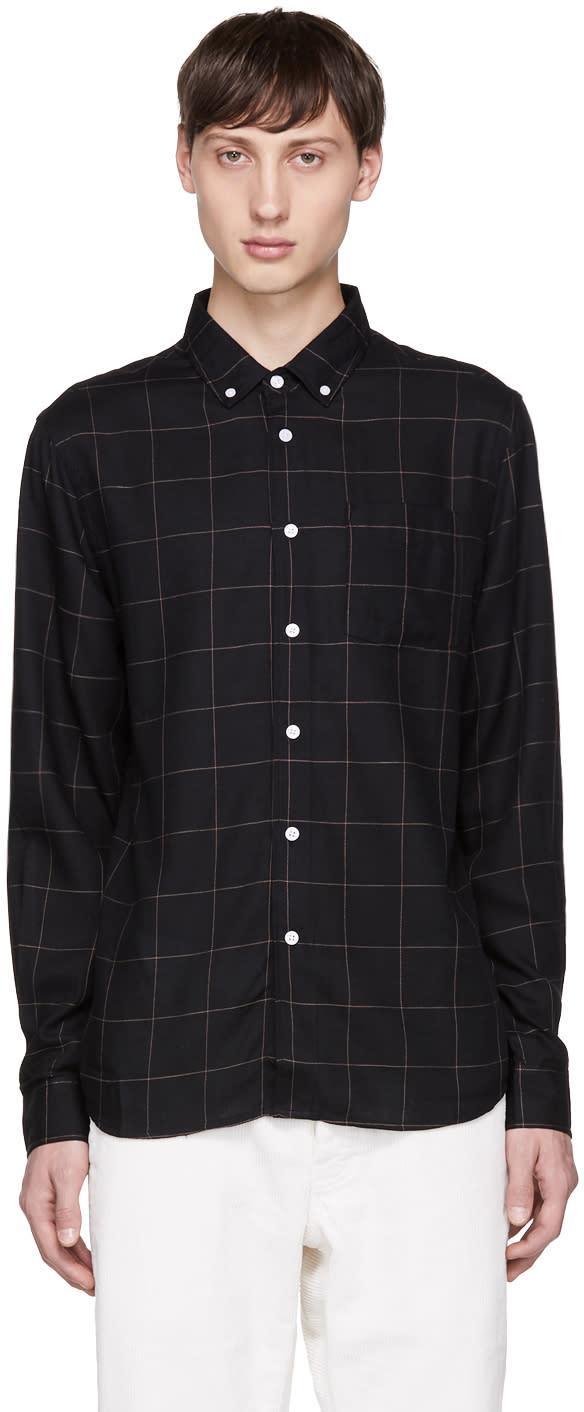 Image of Saturdays Nyc Black Crosby Flannel Shirt