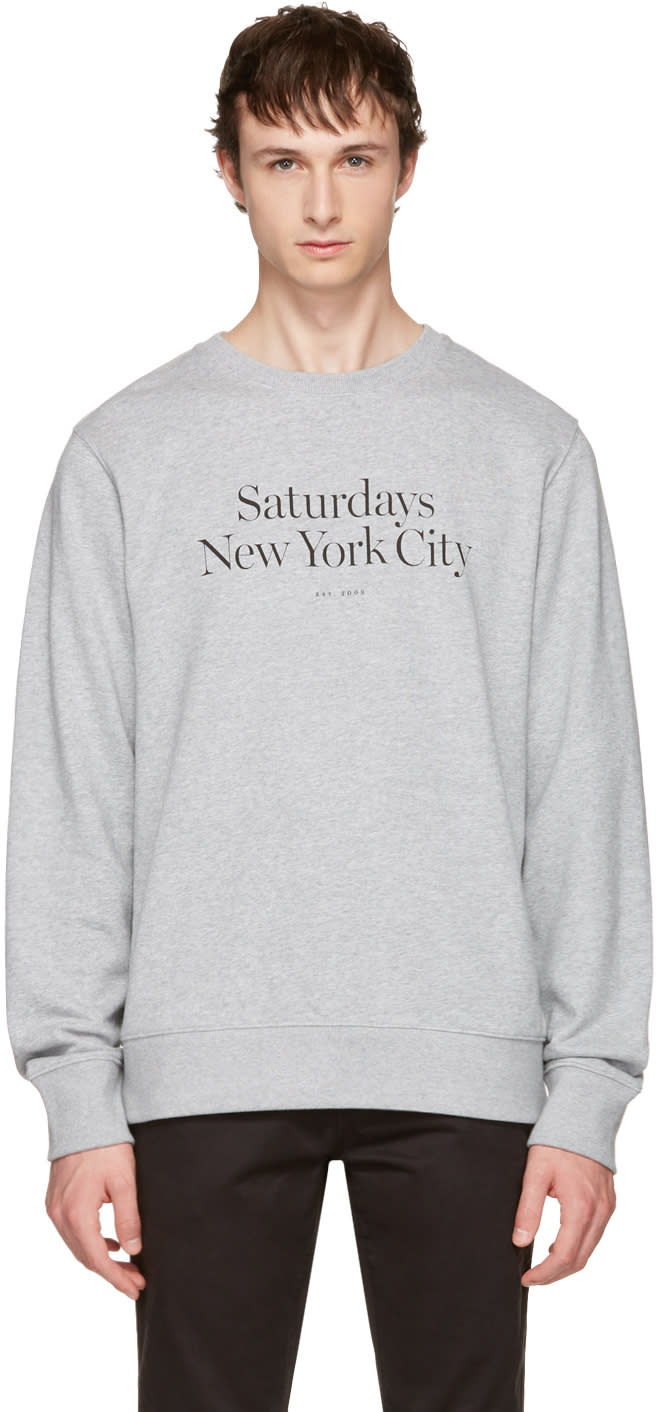 Saturdays Nyc Grey Bowery Miller Standard Sweatshirt