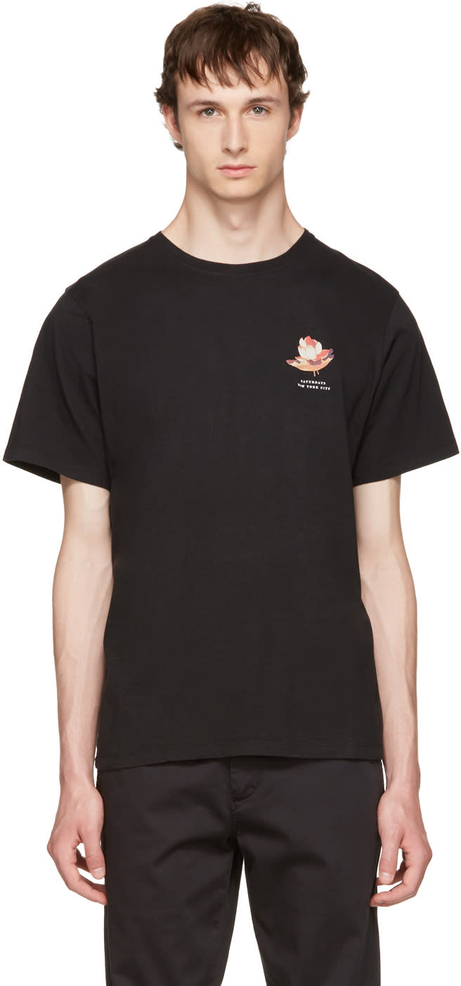 Saturdays Nyc Black Lotus Flower T-shirt