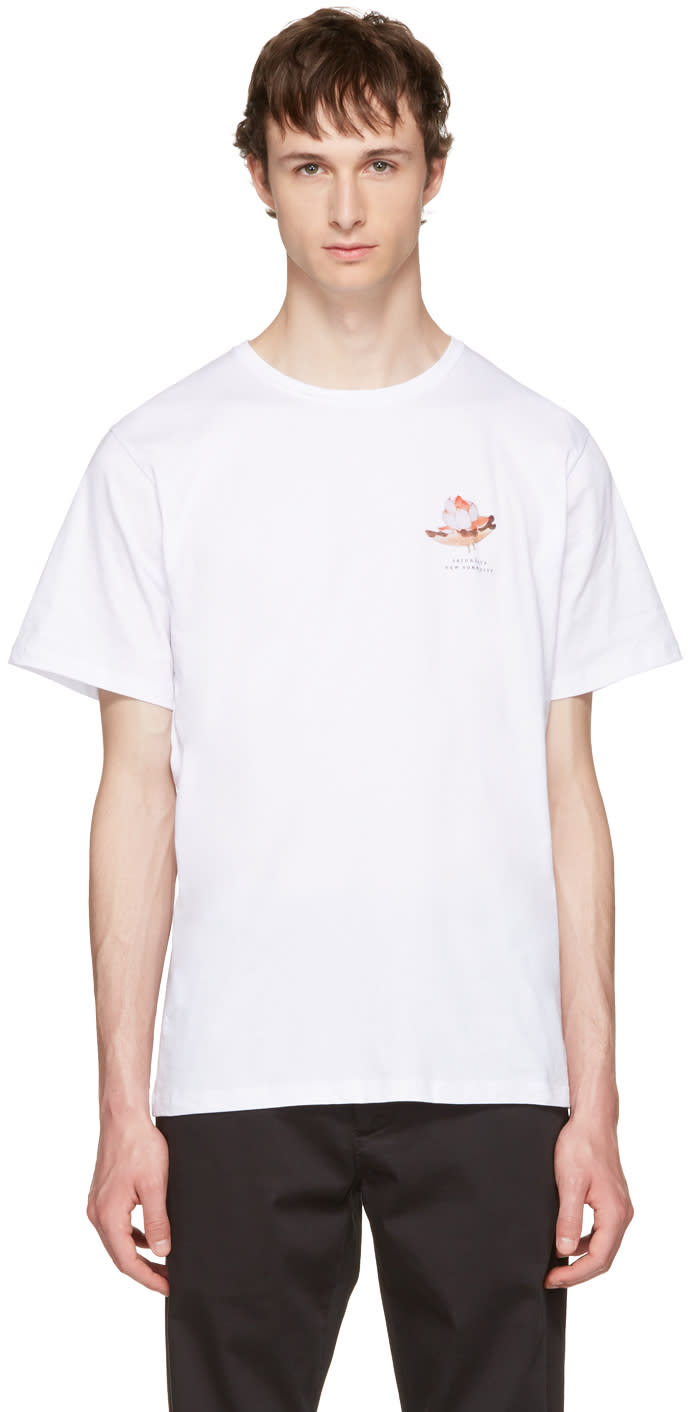 Saturdays Nyc ホワイト ロータス フラワー T シャツ