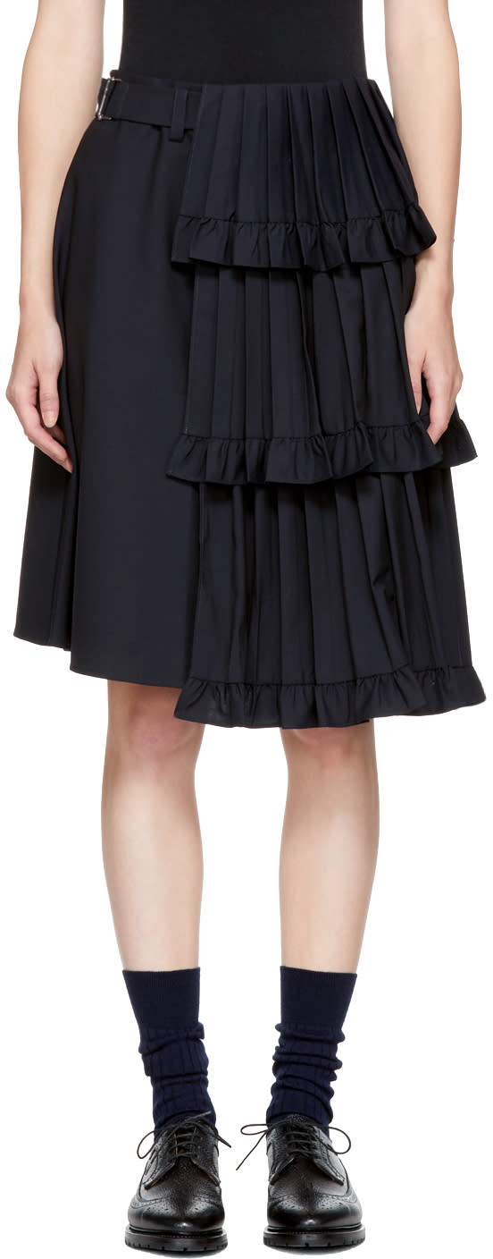 Image of Shushu-tong Navy Pleated Tiered Skirt