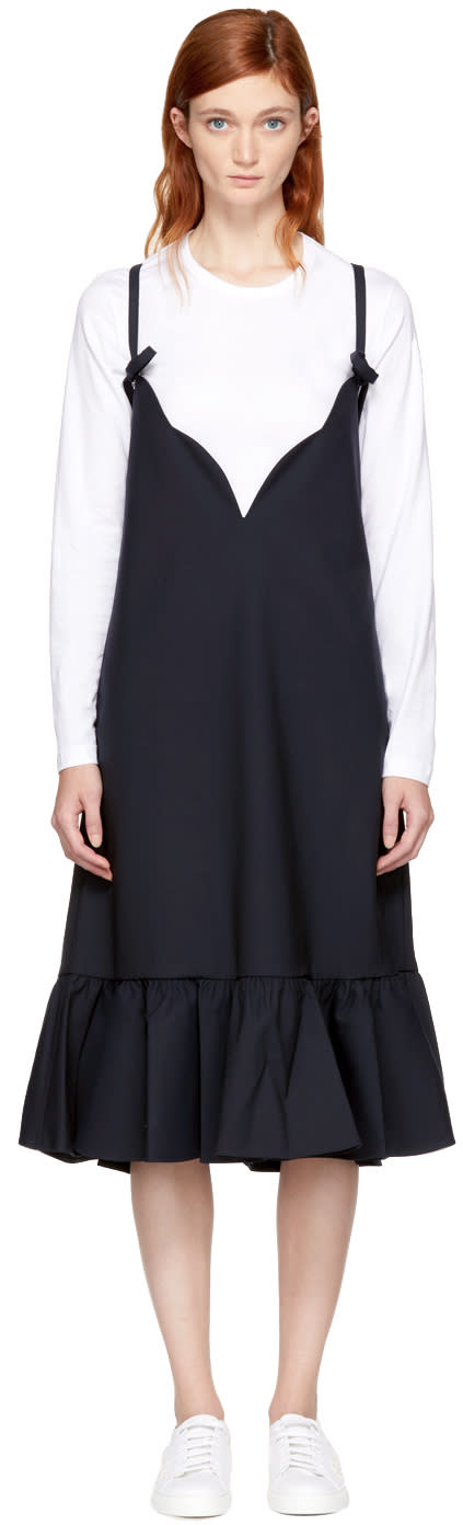 Image of Shushu-tong Navy Ruffled Dress