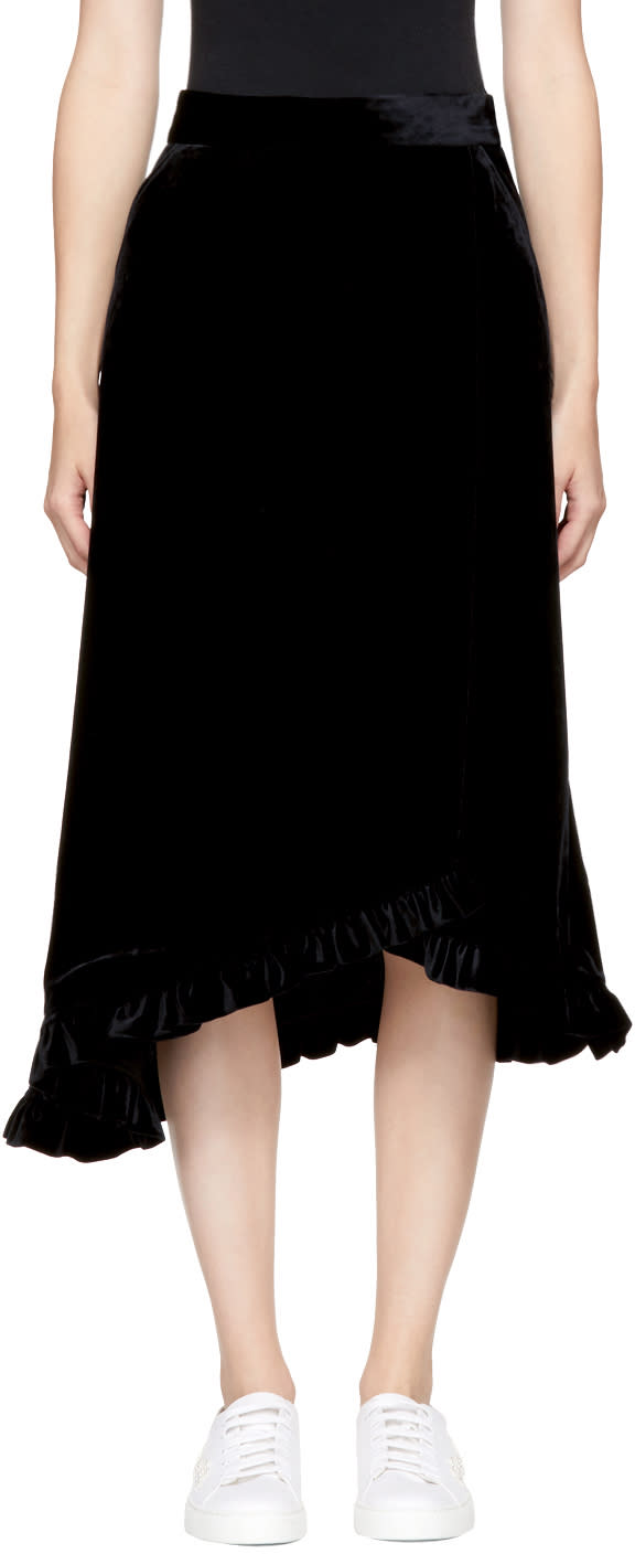 Image of Shushu-tong Black Velvet Skirt