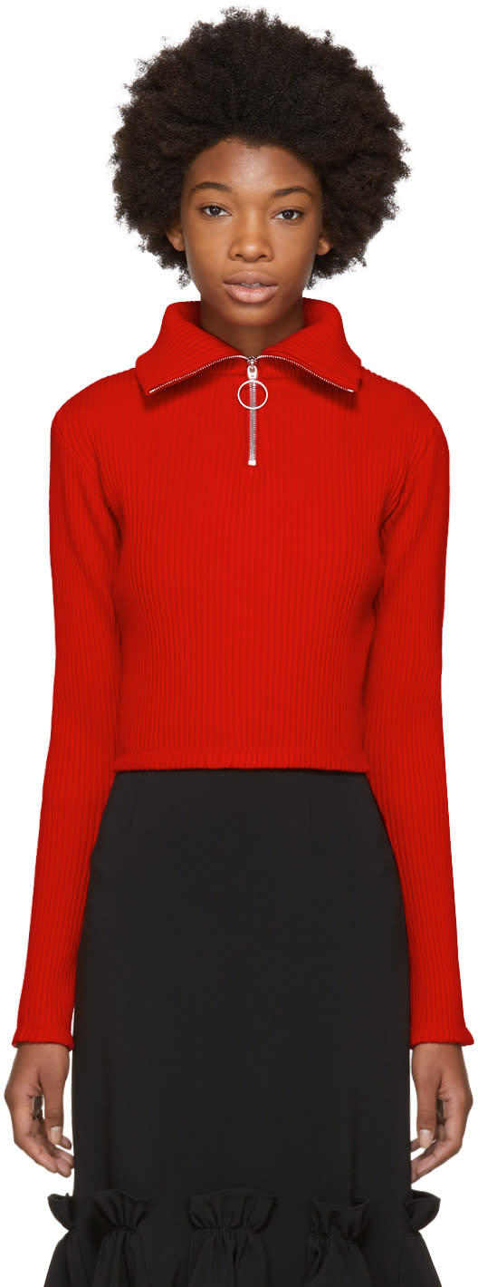 Image of Shushu-tong Red Ribbed Zip Turtleneck