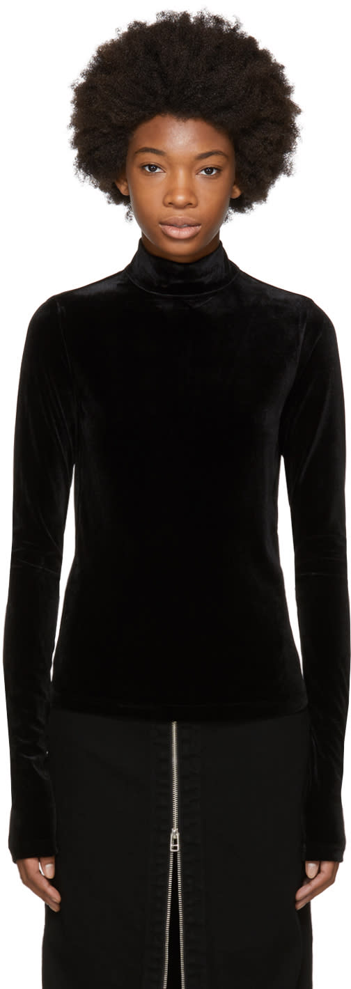 Image of Shushu-tong Black Velvet Logo Turtleneck