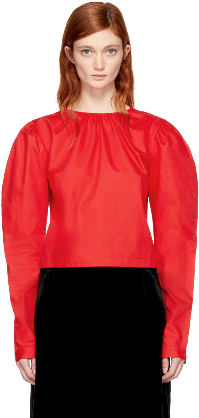 Image of Shushu-tong Red Cropped Bubble Sleeve Blouse