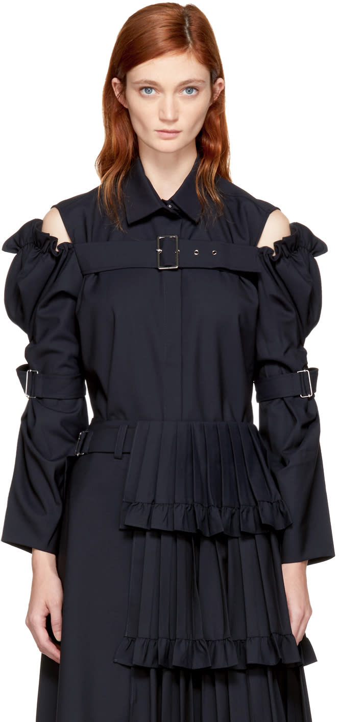Image of Shushu-tong Navy Sleeve Belt Shirt