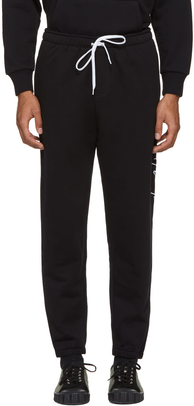 Image of Second-layer Black Large Script Logo Lounge Pants