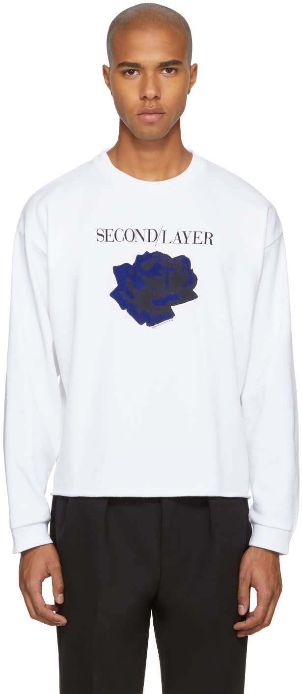 Image of Second-layer White Cropped disconnect Tour Sweatshirt