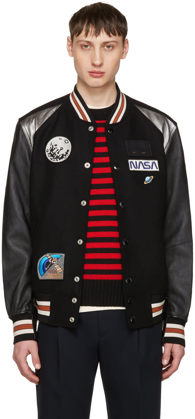 Coach 1941 Black Nasa Patches Varsity Jacket