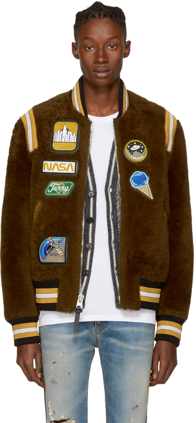 Image of Coach 1941 Brown Shearling Bomber Jacket