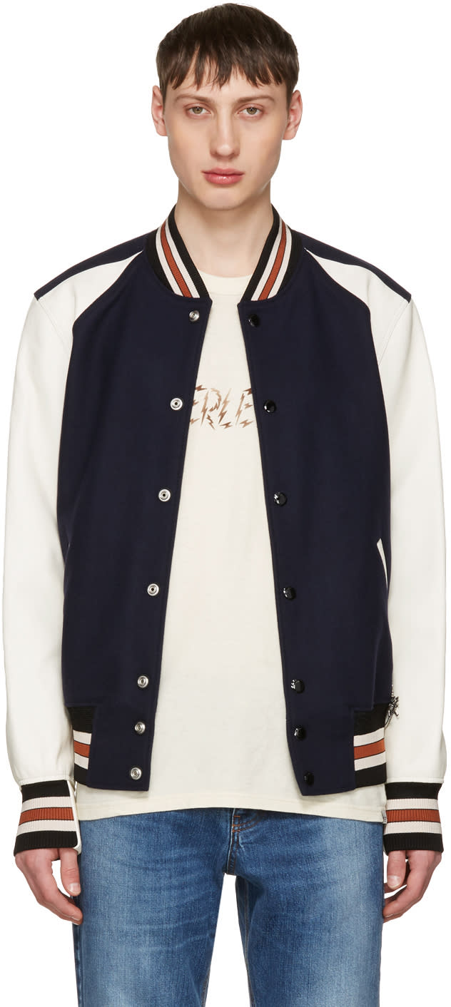 Coach 1941 Navy and Off-white Wool Varsity Jacket