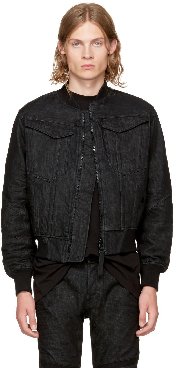 Image of Raw Research Black Denim Deline Bomber Jacket