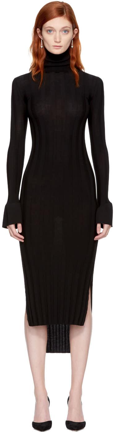 Image of Khaite Black Wool Malina Dress