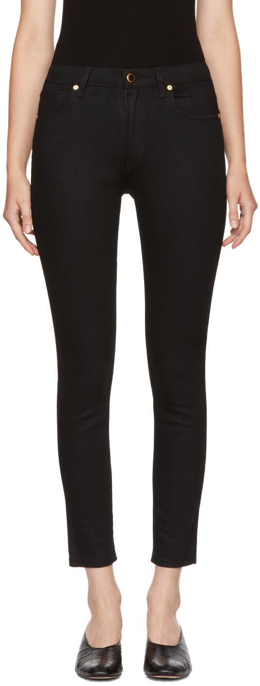 Image of Khaite Black Kassandra Mid-rise Ankle Skinny Jeans