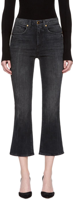 Image of Khaite Black Benny Crop Flare Jeans