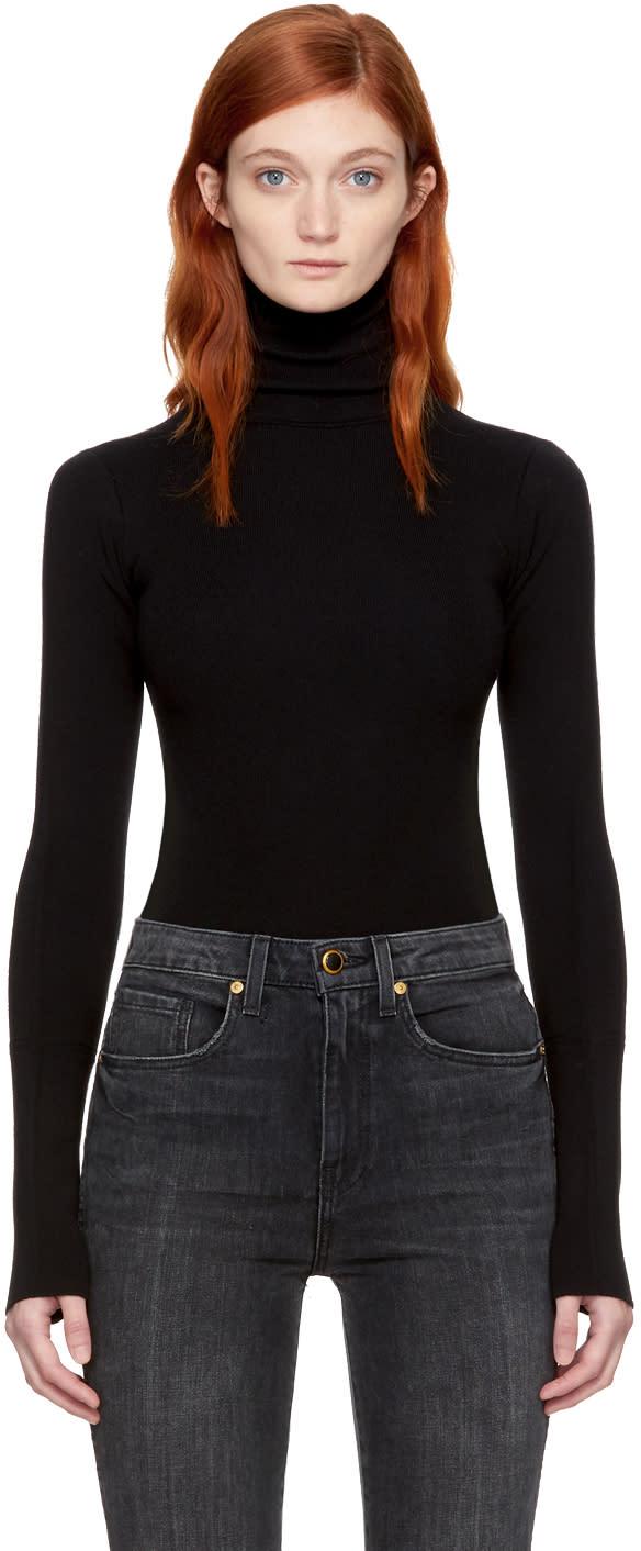 Image of Khaite Black Wool Cate Bodysuit