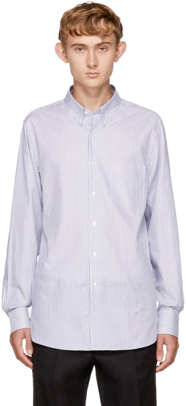 Image of Childs Navy and White Striped Button-down Shirt