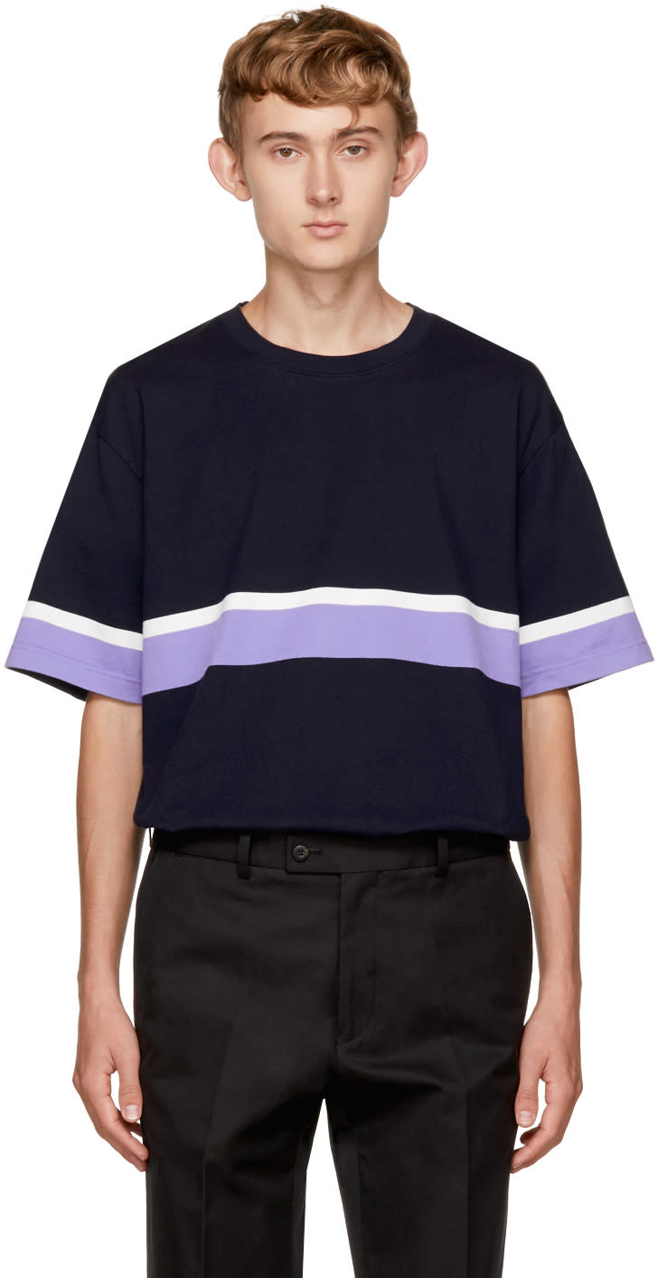 Image of Childs Navy Boxy Stripe T-shirt