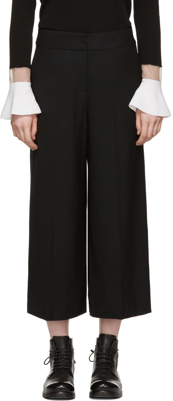 Image of Kuho Black Cropped Wide-leg Trousers