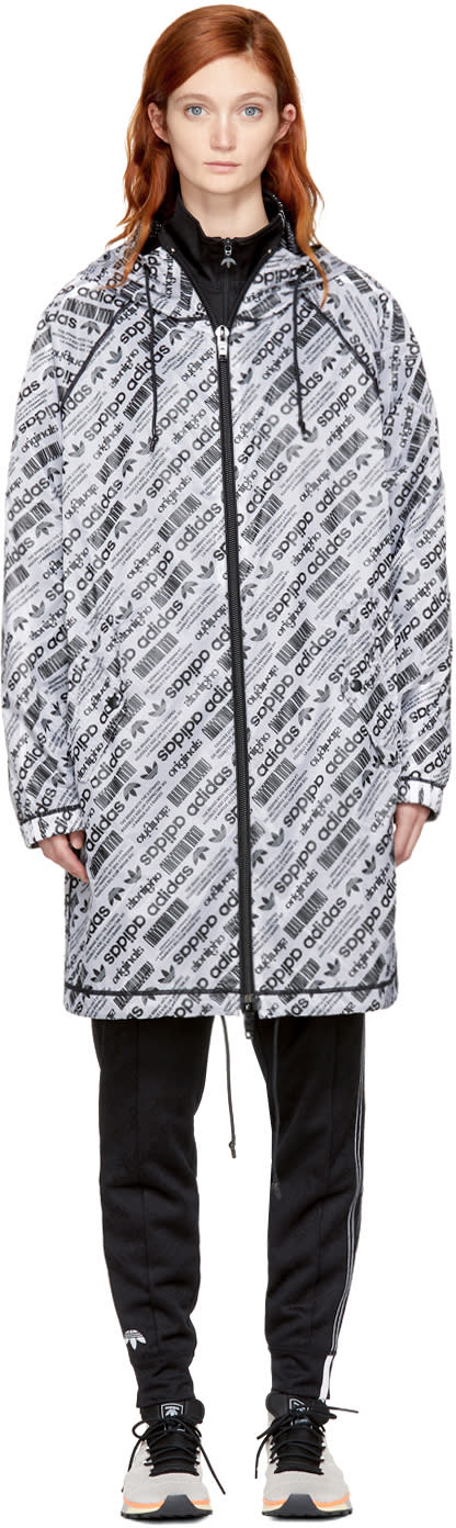Image of Adidas Originals By Alexander Wang Reversible White and Black Aw Hooded Parka