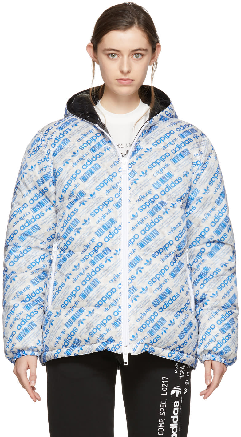 Image of Adidas Originals By Alexander Wang Reversible Blue and Black Down Puffer Jacket