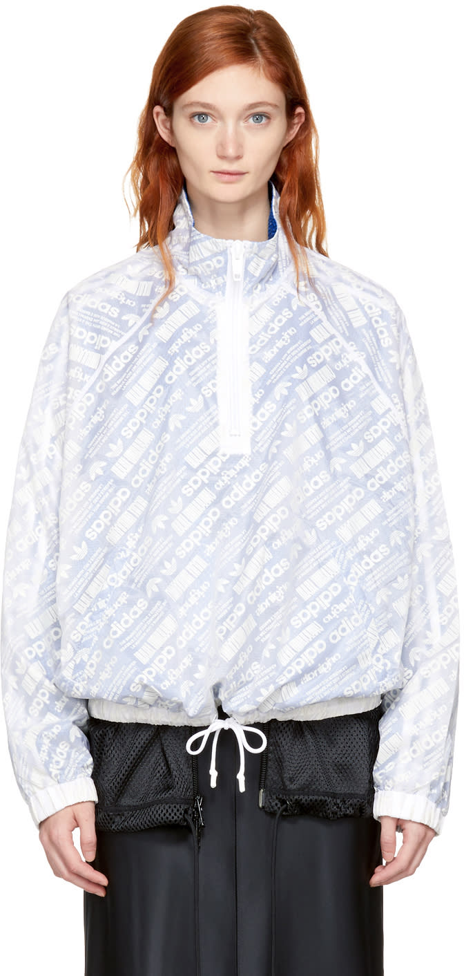 Image of Adidas Originals By Alexander Wang Reversible White and Blue Aw Windbreaker Jacket