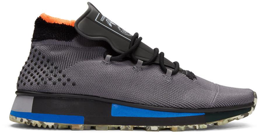 Image of Adidas Originals By Alexander Wang Grey Aw Run Mid Bounce Sneakers
