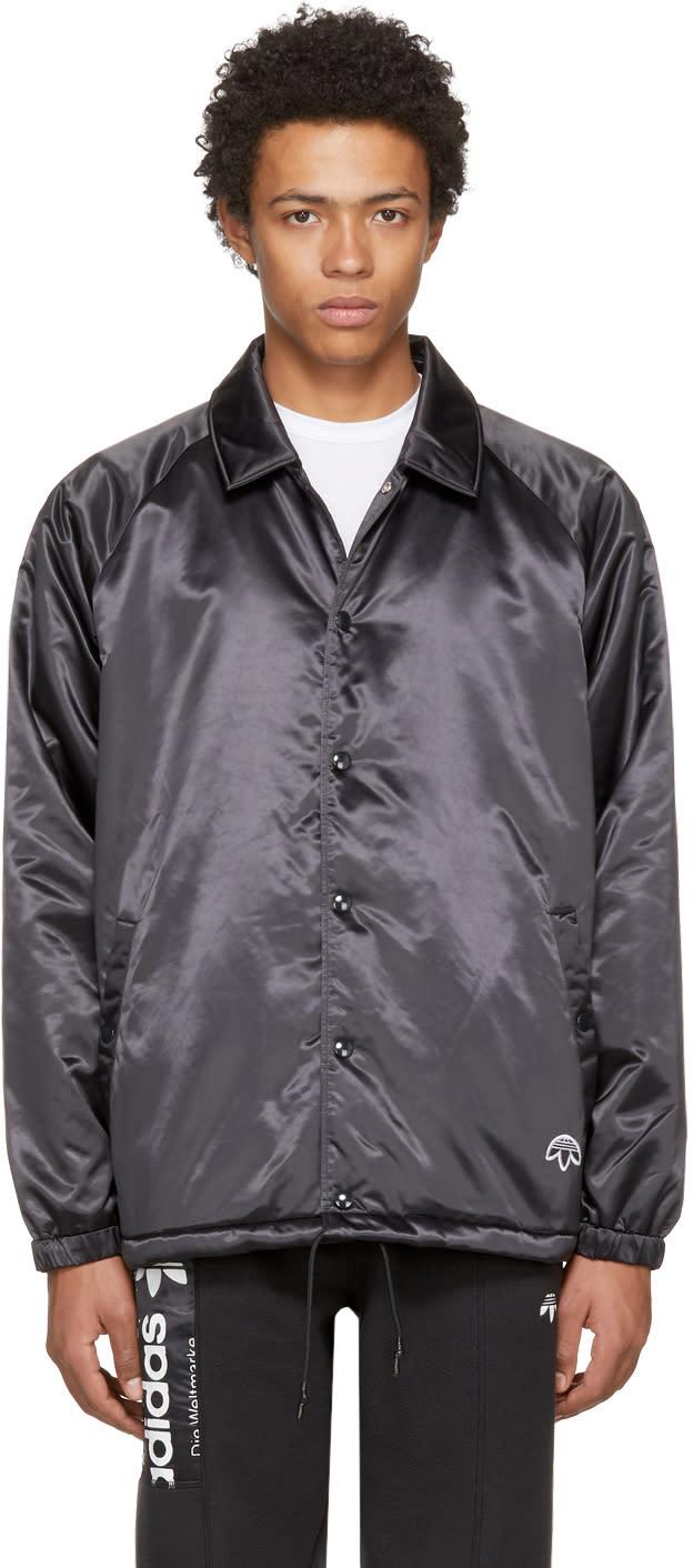 Image of Adidas Originals By Alexander Wang Black Nylon Coach Jacket