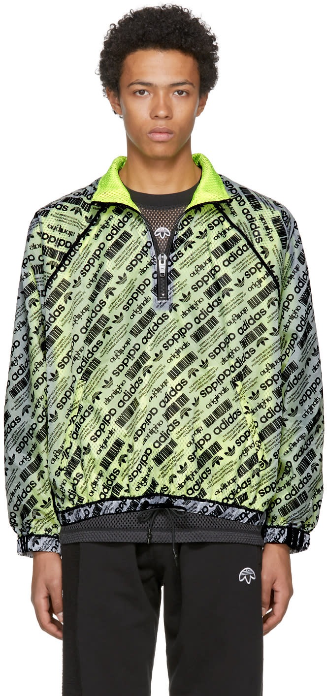 Image of Adidas Originals By Alexander Wang Reversible White and Yellow Aw Windbreaker Jacket