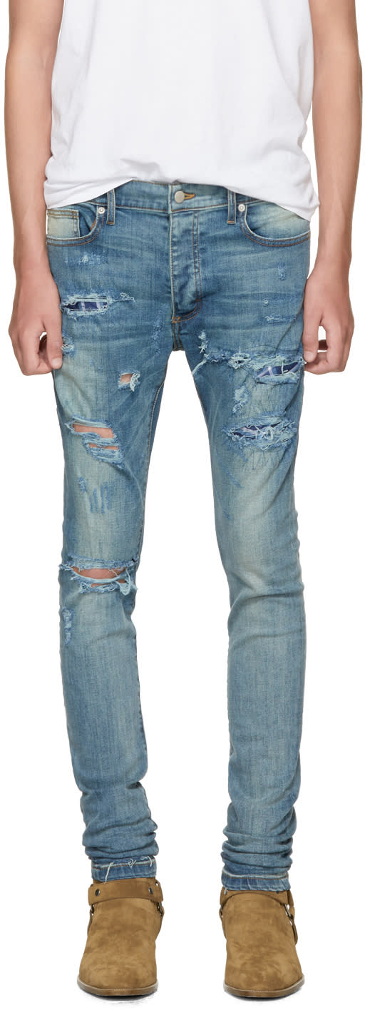 Image of Rhude Ssense Exclusive Blue Boxer Jeans