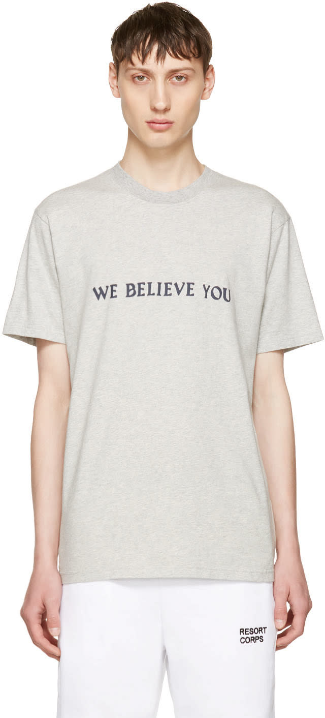 Image of Resort Corps Grey we Believe You T-shirt