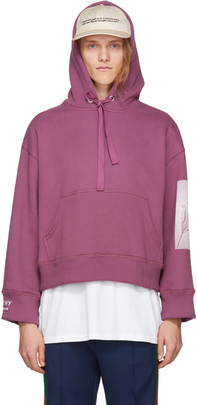 Image of Empathy Los Angeles Ssense Exclusive Burgundy Graphic Hoodie