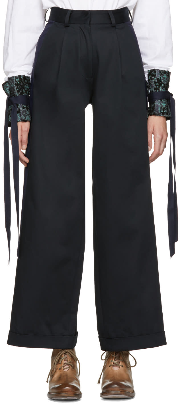 Image of Ovelia Transtoto Black and Navy Cooper Chino Trousers