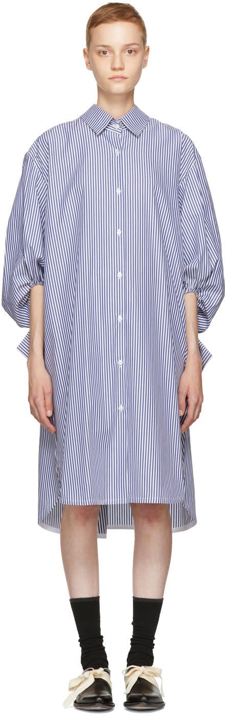 Image of Ovelia Transtoto Ecru and Navy Polar Shirt Dress