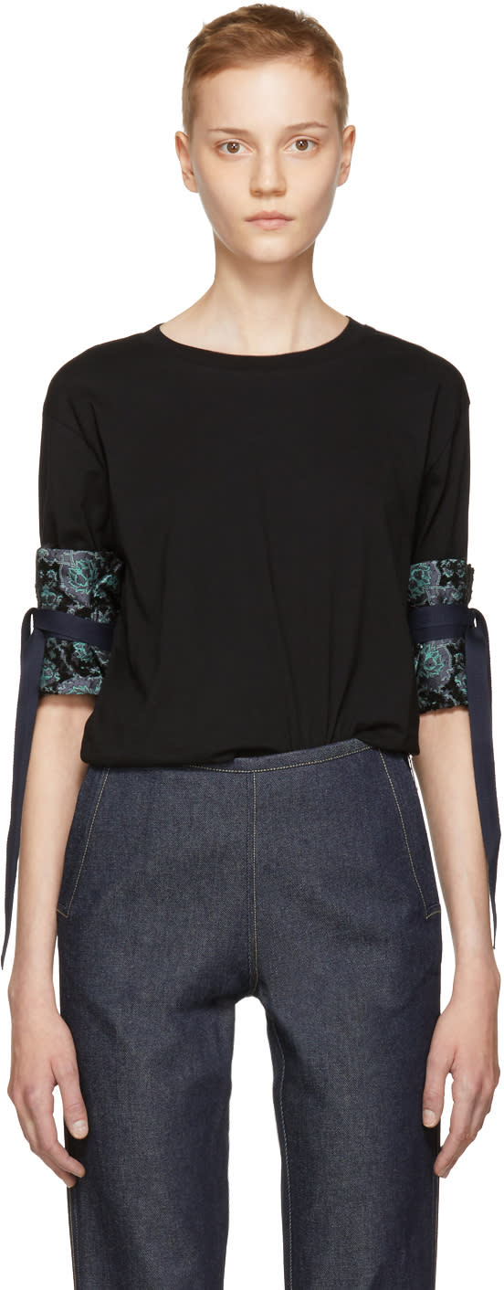 Image of Ovelia Transtoto Black Ruffled Cuff T-shirt