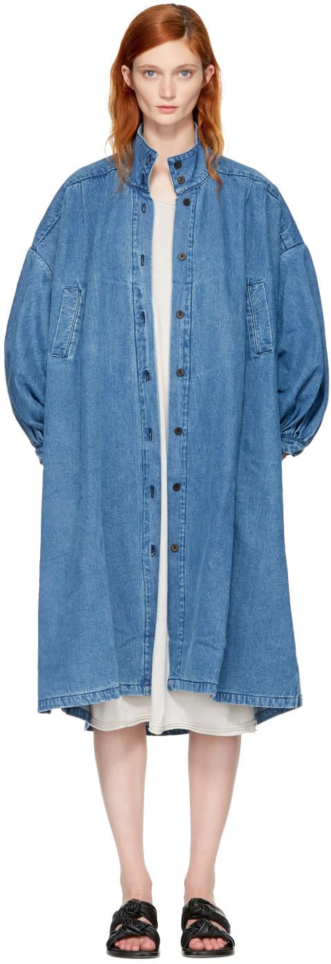 Image of 69 Blue Denim Pleated Coat