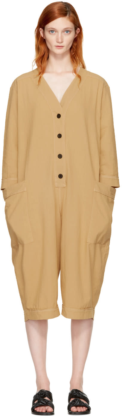Image of 69 Beige Summer Cover-up Jumpsuit