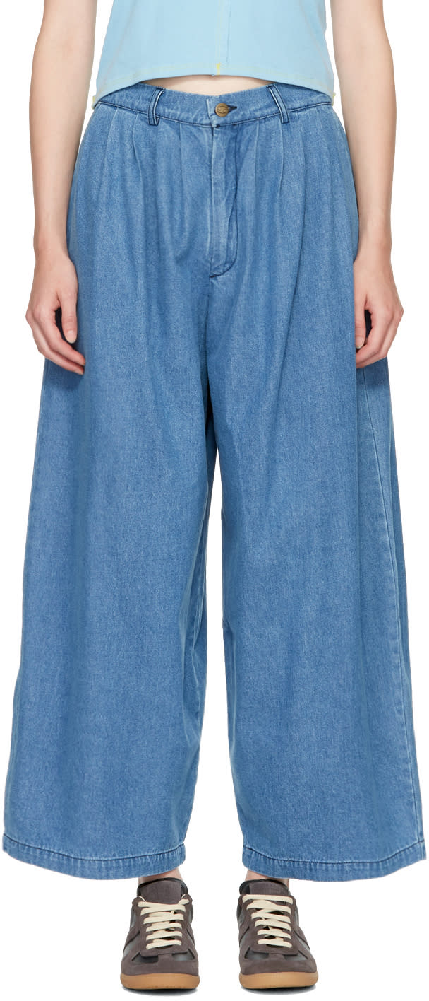 Image of 69 Blue Pleated Jeans