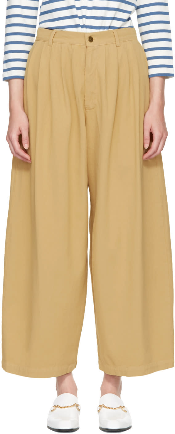 Image of 69 Tan Denim Pleated Trousers