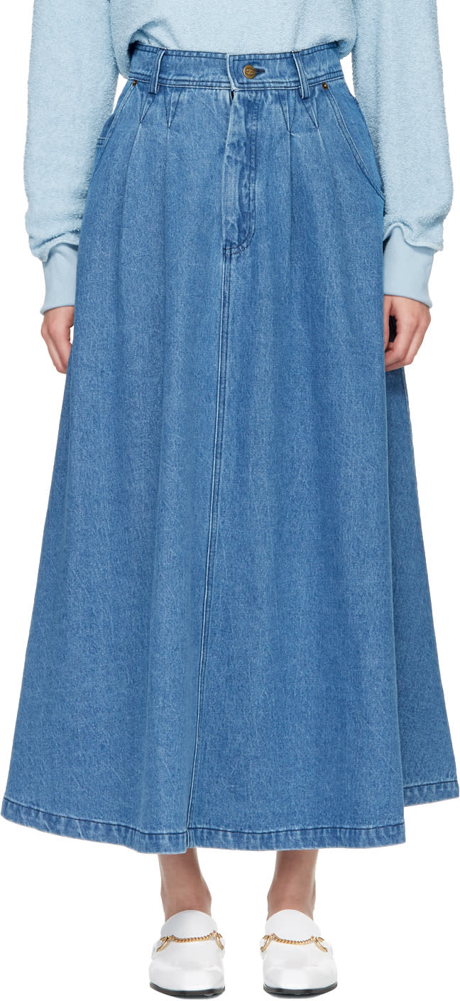 Image of 69 Blue Denim Cow Person Skirt