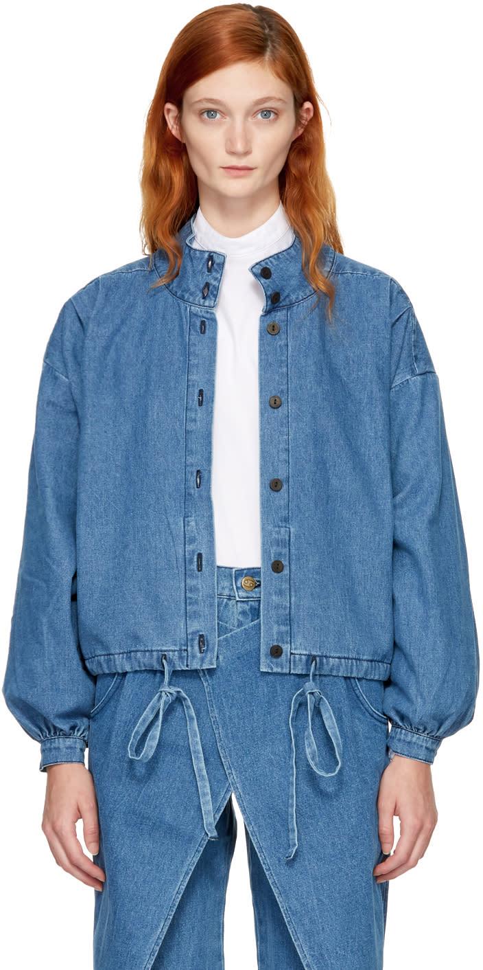 Image of 69 Blue Denim Pleated Jacket