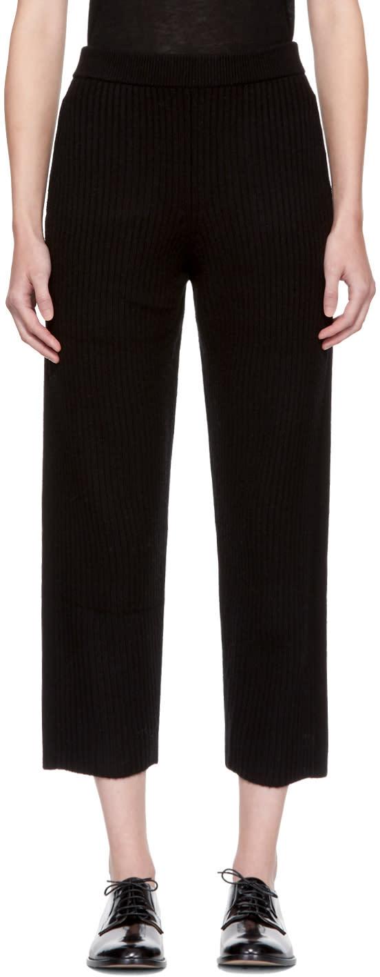 Image of Joseph Black Wool Rib Lounge Pants